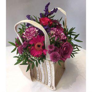 Arrangement of flowers in a bag