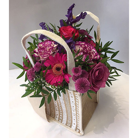 Arrangement of flowers in a bag
