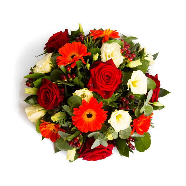 Posy pad loose arrangement of flowers