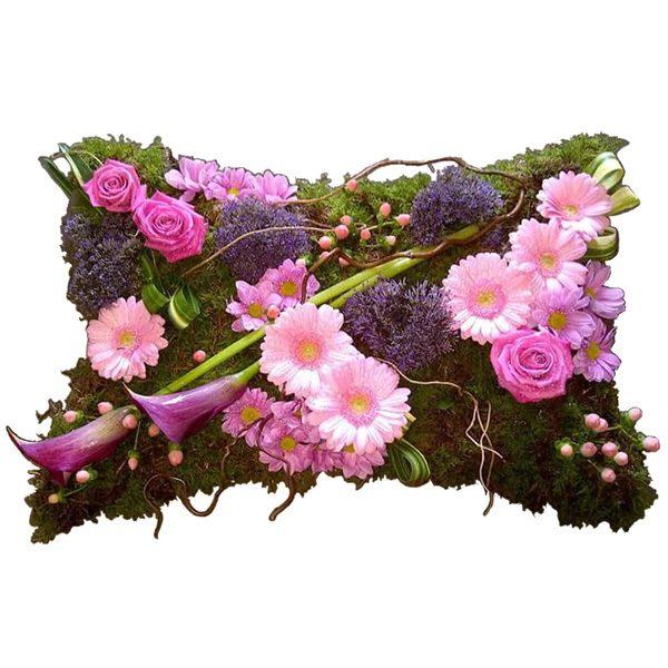 Loose arrangement of flowers in the shape of a pillow