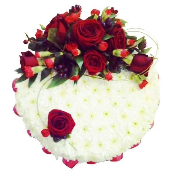 Posy pad arrangement of flowers - based