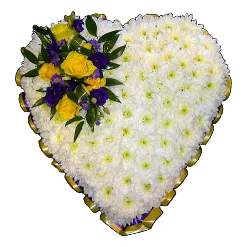 Solid heart shaped arrangement of flowers - based